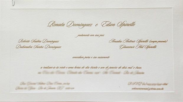 Convite de casamento de Renata Dominguez e Edson Spinello (Foto: Divulgação)