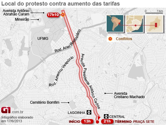 Mapa do protesto em Belo Horizonte (Foto: Arte/G1)