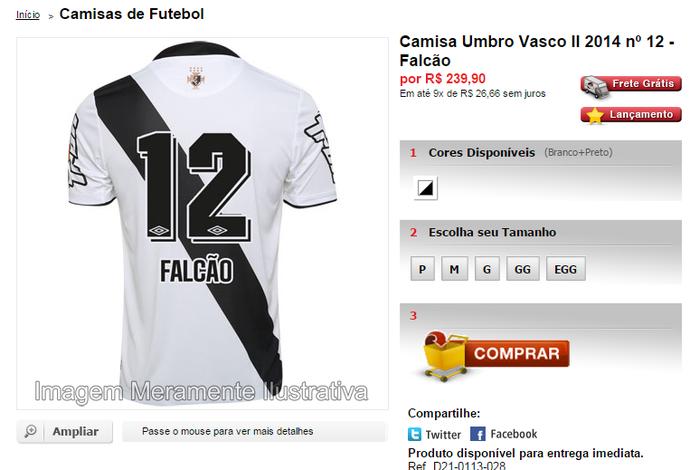 16a8b7678a Camisa Vasco Falcão futebol 7 à venda (Foto  Reprodução Gigante da Colina)
