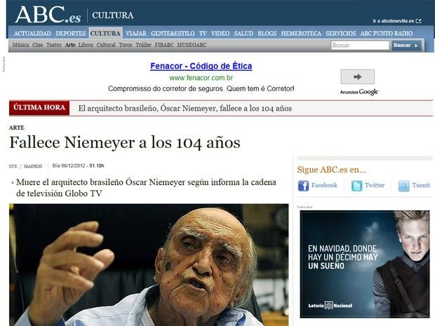 O jornal espanhol ABC noticiou a morte lembrando do fato de Niemeyer ter projetado os principais edifícios públicos de Brasília (Foto: Reprodução)
