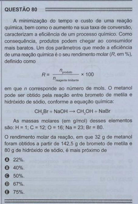 ENEM 2016 - 1º DIA - PROVA BRANCA - QUESTÃO 80 (Foto: G1 )