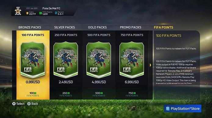 Compre Fifa Points, abra pacotes e venda cartas (Foto: Reprodução/Thiago Barros)