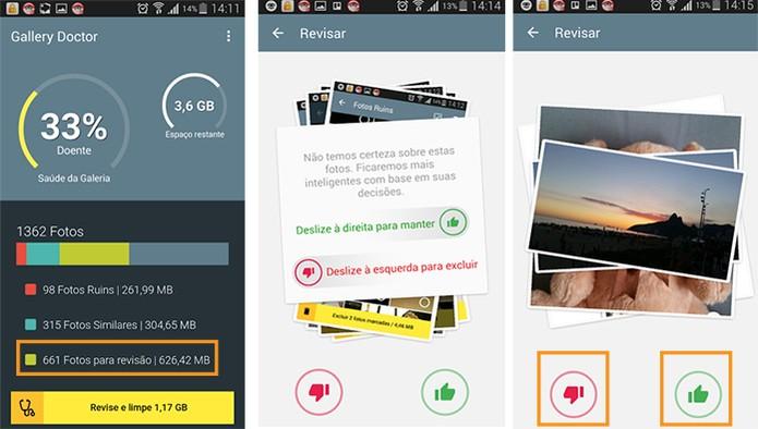 Análise personalizada de quais fotos deseja manter e quais deseja excluir da galeria com o app Doctor Gallery (Foto: Reprodução/Barbara Mannara)