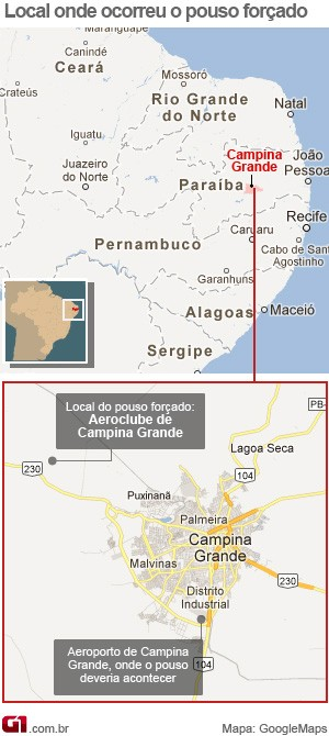 Mapa: pouso forçado do avião do governador da Paraíba (Foto: Arte/G1)