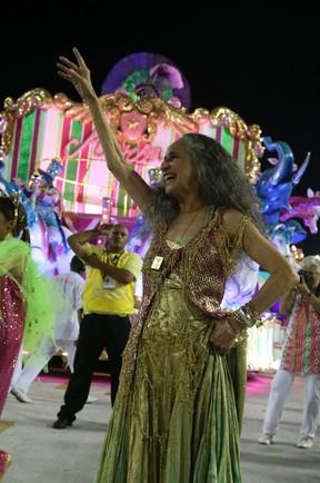 Maria Bethânia em desfile da Mangueira na Marquês de Sapucaí, no Centro do Rio (Foto: Andre Freitas/ Ag. News)
