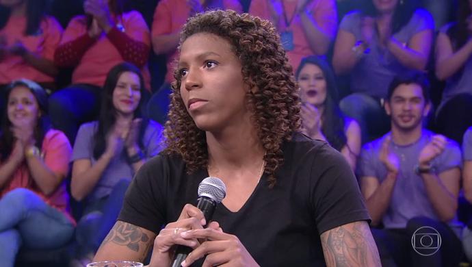 Rafaela Silva durante participação no palco do Domingão do Faustão (Foto: TV Globo)