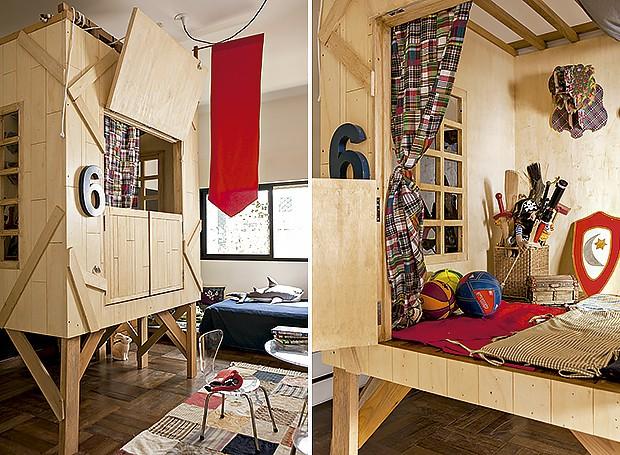 O dono deste quarto ganhou uma cabana que serve de espaço para brincadeiras (Foto: Edu Castello/Editora Globo)
