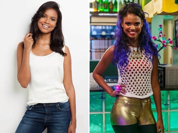 Aline Dias antes e depois da caracterização de sua personagem (Foto: Ricardo Penna/Artur Meninea/Gshow)