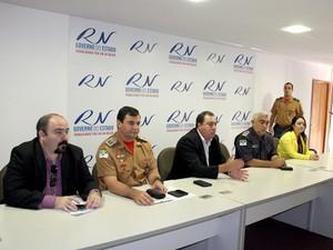 Cúpula da Secretaria de Segurança do RN apresentou balanço da operação Carnaval (Foto: Demis Roussos)