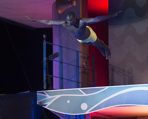 Jacaré dando o salto no Saltibum (Foto: Alex Carvalho / TV Globo)