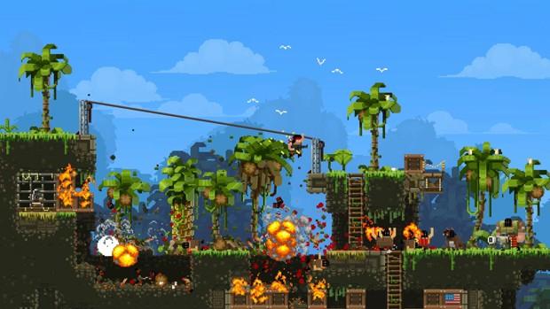 'Broforce', game de tiro em 2D com personagens de filmes de ação (Foto: Divulgação/Devolver)