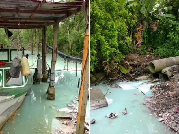 Água suja que sai de manilha causou a mudança na cor da água (Foto: Rodrigo Brito/RPC TV)