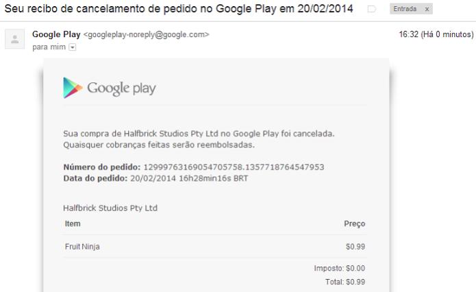 Google manda recibo via e-mail (Foto: Thiago Barros/TechTudo) (Foto: Google manda recibo via e-mail (Foto: Thiago Barros/TechTudo))