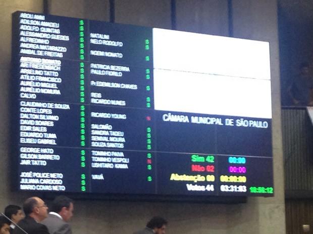 Resultado da votação aprovou o Plano Municipal de Educação de São Paulo (Foto: Roney Domingos/G1)