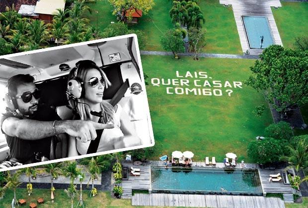 Laís e o publicitário Francisco Zuccato, 27, vaõ se casar no início de 2017. Acima, o pedido de casamento feito em Bali, na Indonésia, durante um voo de helicóptero (no detalhe). Ela ficou tão chocada que perdeu a voz (Foto: Arquivo pessoal)
