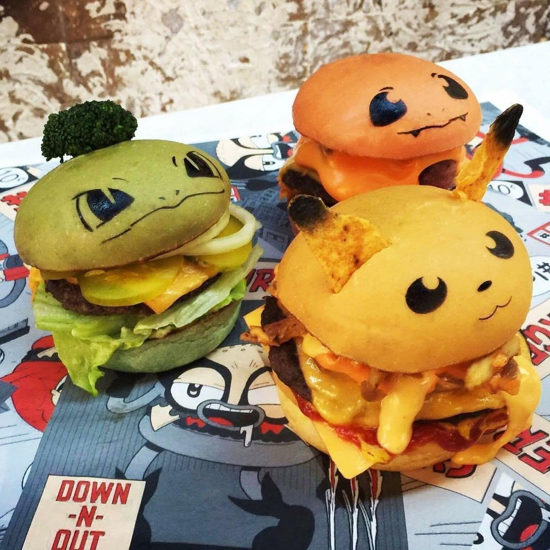 Os sanduíches inspirados em Pokémons da Down-N-Out (Foto: Reprodução/Instagram)