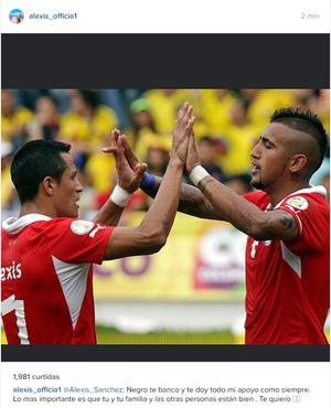 Alexis Sanchez manda mensagem para Vidal (Foto: Reprodução / Instagram)