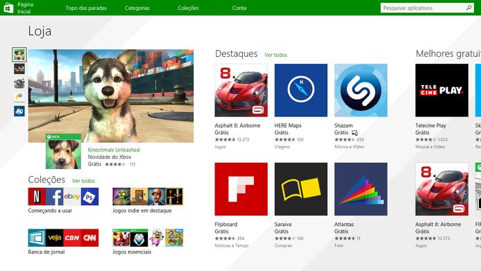 Loja de aplicativos do Windows 8.1 ganhou nova tela inicial e melhorias visuais e na pesquisa (Foto: Reprodução/Elson de Souza)