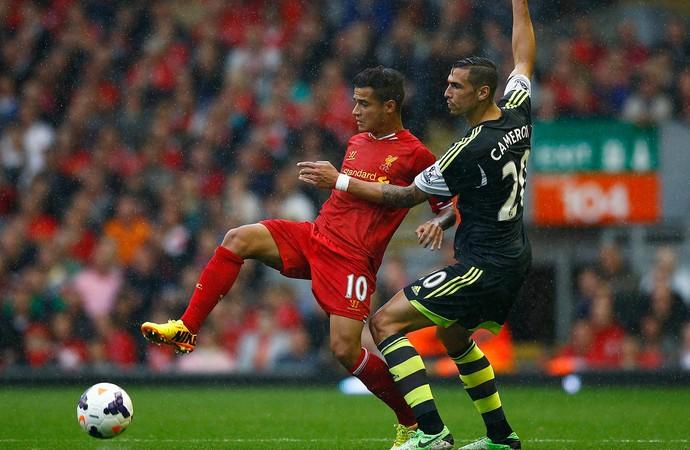 Philippe Coutinho stoke city x liverpool (Foto: Reuters)