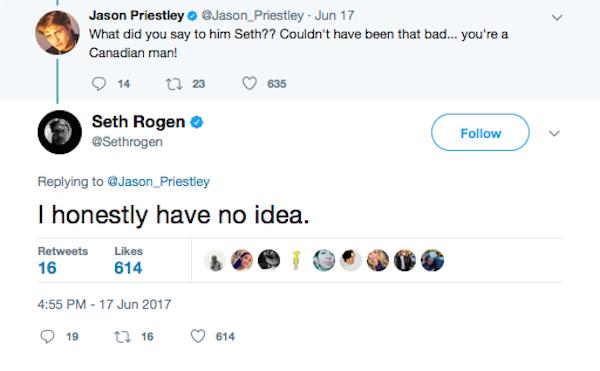 Seth Rogen dizendo não ter ideia do motivo que o levou a ser bloqueado por Rob Schneider (Foto: Twitter)