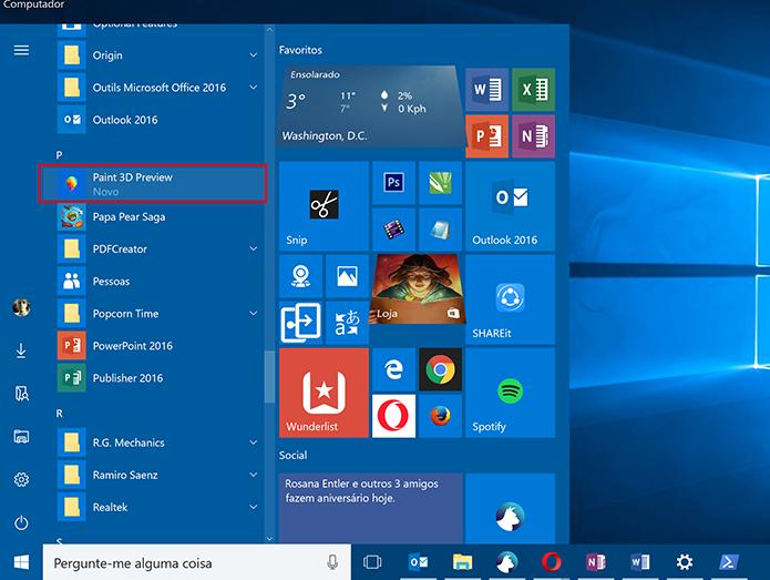 Paint 3D aparecerá no menu Iniciar após ser instalado no Windows 10 (Foto: Reprodução/Elson de Souza)