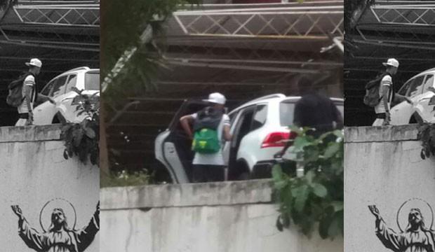 Neymar saindo do hotel (Foto: Reprodução/ Twitter)
