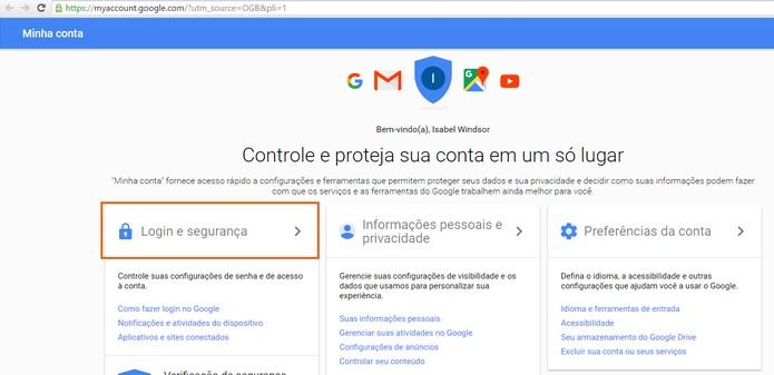 Acesse as configurações de segurança na conta Google (Foto: Reprodução/Barbara Mannara) (Foto: Acesse as configurações de segurança na conta Google (Foto: Reprodução/Barbara Mannara))