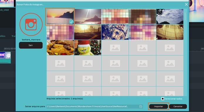 Escolha as mídias do Instagram e faça o download no Filmora (Foto: Reprodução/Barbara Mannara)