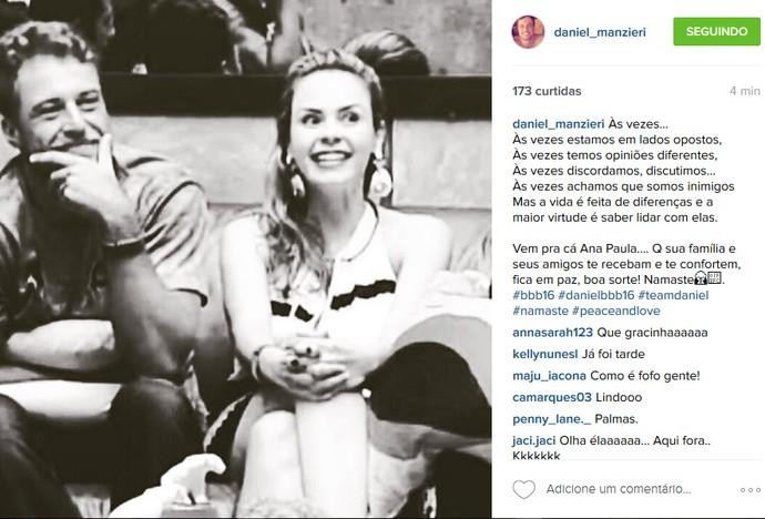 Daniel escreve mensagem para Ana Paula (Foto: Reprodução/Internet)