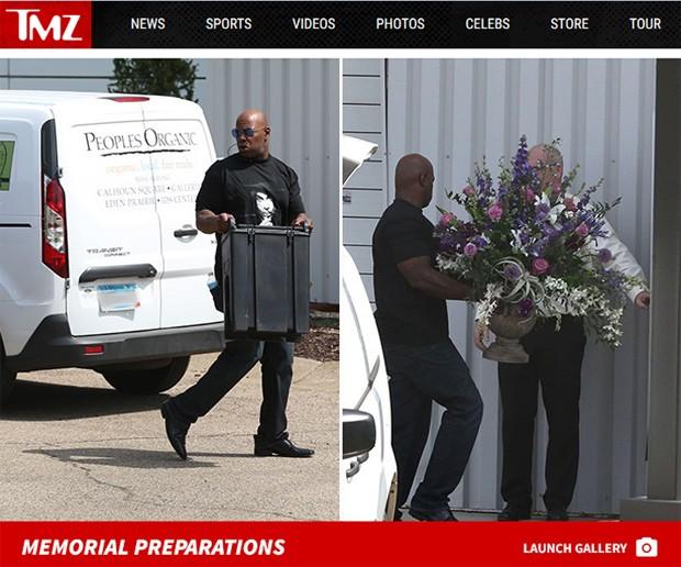Site mostra preparativos para cerimônia em Paisley Park, casa onde Prince morava nos EUA (Foto: Reprodução / TMZ)