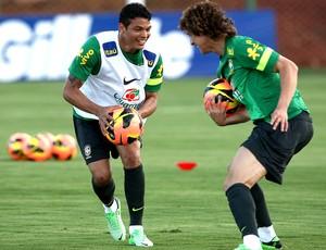 Thiago Silva e David Luiz treino Seleção (Foto: Mowa Press)