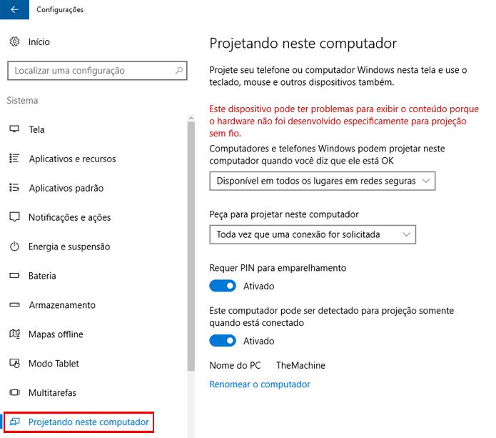 Windows permite configurar como projeção de tela funciona (Foto: Reprodução/Windows)