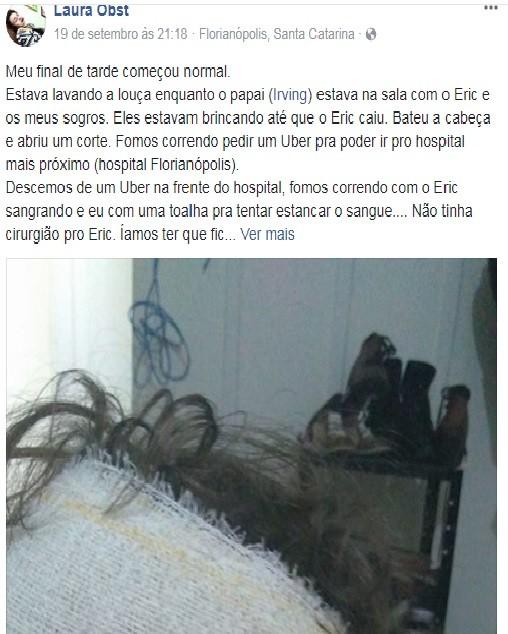 post da mãe no facebook sobre taxista que recusou corrida (Foto: Arquivo Pessoal)