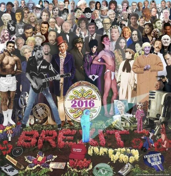 Álbum clássico dos Beatles com celebs que morreram em 2016 (Foto: Reprodução Tumblr)