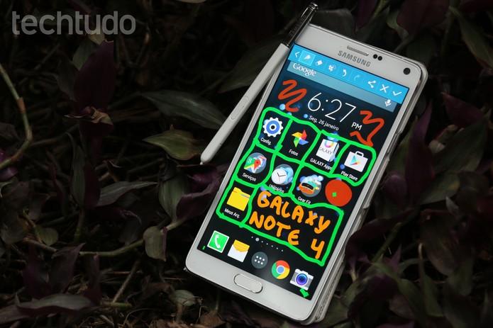 É possível tirar print da tela do Galaxy Note 4 e escrever por cima (Foto: Lucas Mendes/TechTudo)