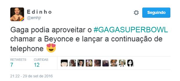 Fãs comemoram Lady Gaga no Super Bowl 2017 (Foto: Reprodução/Twitter)
