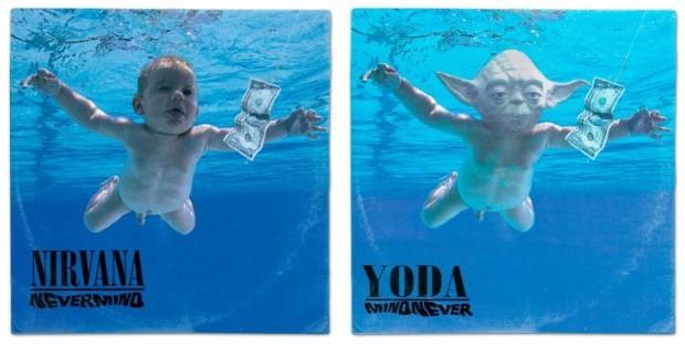 Yoda assumiu o papel do bebê de 'Nevermind', do Nirvana (Foto: Reprodução)