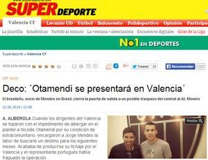 Deco anuncia Otamendi no Valencia (Foto: Reprodução/Super Deporte)