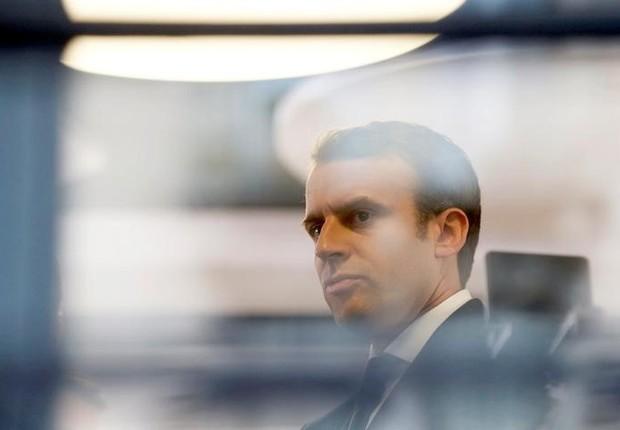 Macron faz campanha em Rodez (Foto: Regis Duvignau/Reuters)