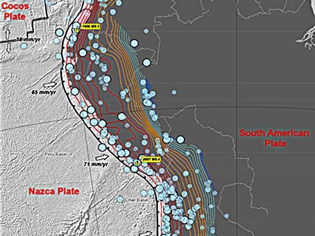 Mapa do serviço Geológico dos Estados Unidos mostra terremotos ocorridos na região da Cordilheira dos Andes, próximo à fronteira com o Brasil, entre 1900 e 2014 (Foto: Serviço Geológico dos Estados Unidos/Reprodução)
