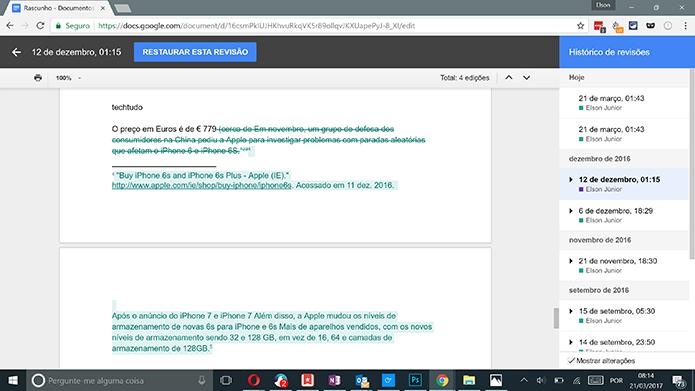 Google Docs mostra edições feitas no documento com cor diferenciada (Foto: Reprodução/Elson de Souza)