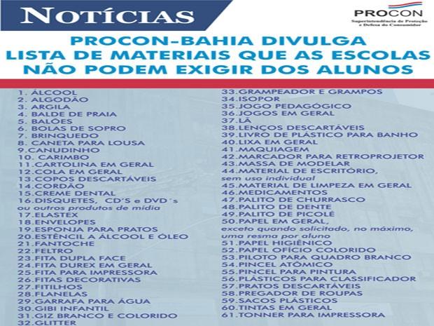 Lista divulgada pelo Procon-Bahia relaciona 61 itens proibidos na lista de material escolar (Foto: Divulgação/Procon-BA)