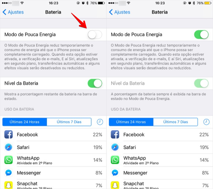 Ativando modo de economia de bateria (Foto: Reprodução/Helito Bijora)