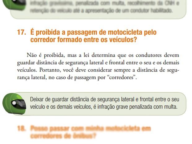 Cartilha do Denatran explica situação dos corredores (Foto: Reprodução / Denatran)
