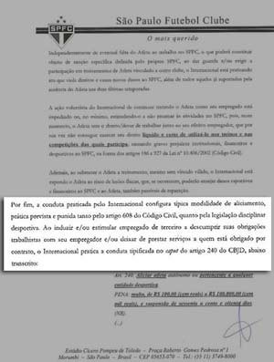 A carta São paulo ao internacional (Foto: Reprodução / Site oficial do são paulo)