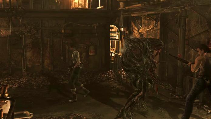 Resident Evil Zero HD: tente cercar a rainha na primeira parte da luta (Foto: Reprodução/Vinícius Mathias)