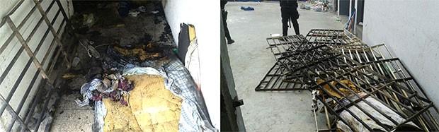 No Presídio Raimundo Nonato, na Zona Norte de Natal, colchões e lençóis foram queimados e grades das celas arrancadas das paredes (Foto: Grupo de Escolta Penal (GEP))