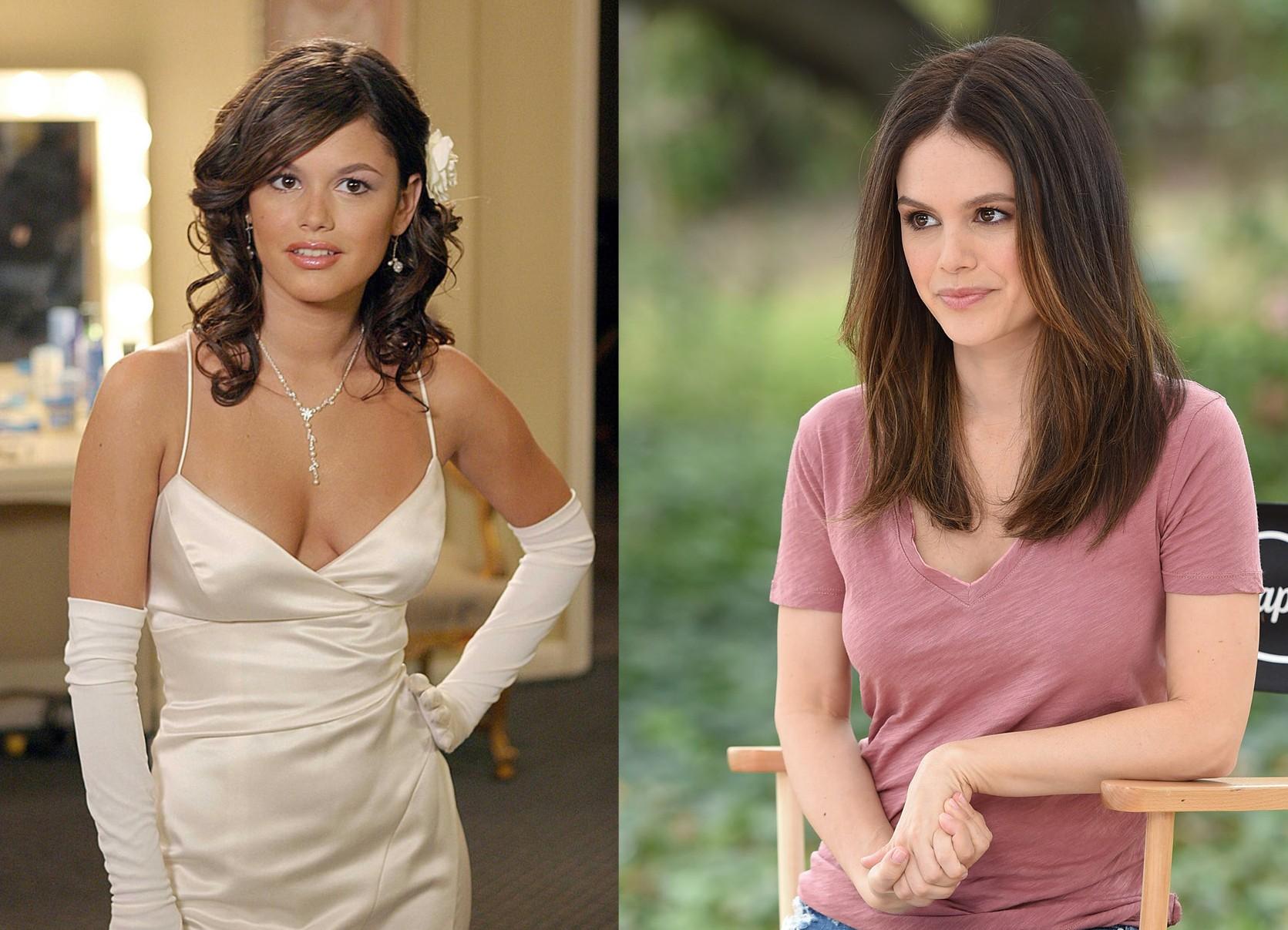 Rachel Bilson em 2003 (na primeira temporada de 'The O.C.') e em 2015 (Foto: Divulgação / Getty Images)