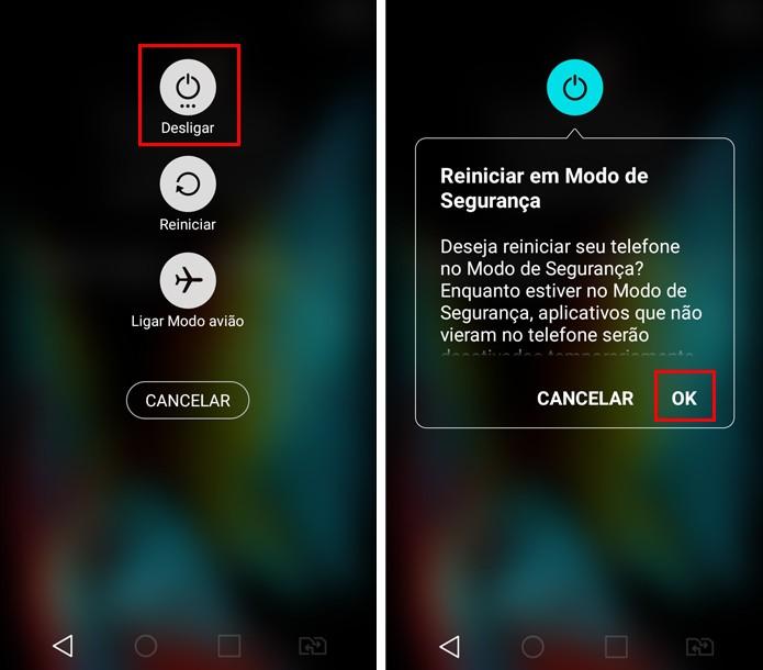 """Pressione a opção """"Desligar"""" até que apareça o diálogo para reiniciar em modo de segurança do seu Android (Foto: Reprodução/Aline Batista)"""