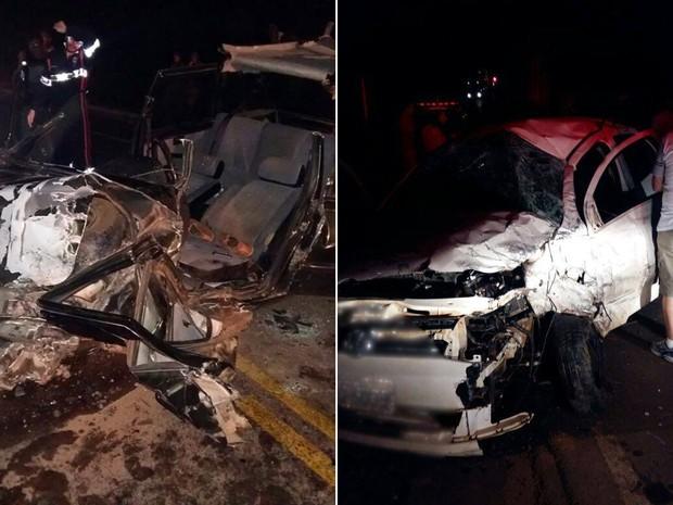 Batida entre dois carros deixa sete feridos na MG-179, em São João da Mata, MG (Foto: Reprodução/Redes Sociais)